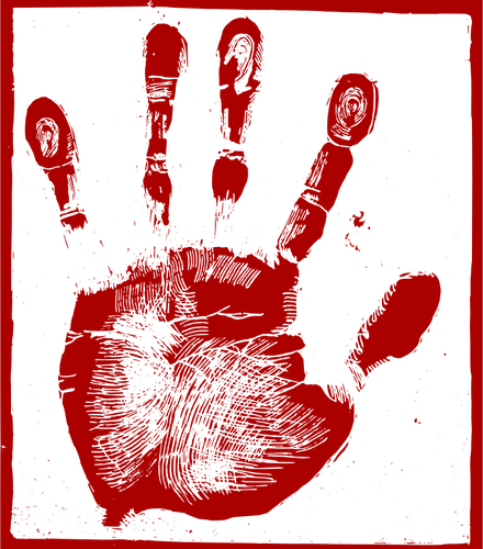 bloody hand-print